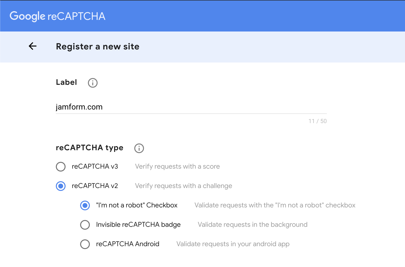 Google register new site dashboard page recaptcha type